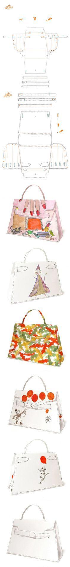It's a paper Kelly bag pattern! Purse Patterns, Sewing Patterns, Sewing Crafts, Sewing Projects, Craft Bags, Diy Bags, Diy Purse, Leather Pattern, Leather Projects