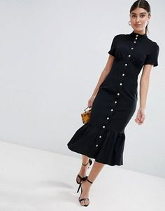 Buy ASOS DESIGN corset midi dress with popper detail and pep hem at ASOS. With free delivery and return options (Ts&Cs apply), online shopping has never been so easy. Get the latest trends with ASOS now. Simple Dresses, Nice Dresses, Casual Dresses, Fashion Dresses, Woman Dresses, Maxi Dresses, Party Dresses, Minimalist Dresses, Minimalist Fashion