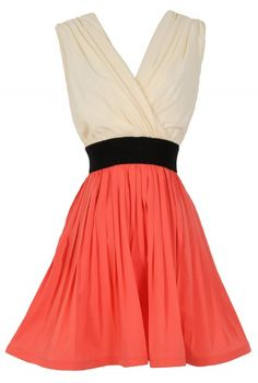 Colorblock Fit and Flare Pleated Chiffon Dress in Coral  www.lilyboutique.com
