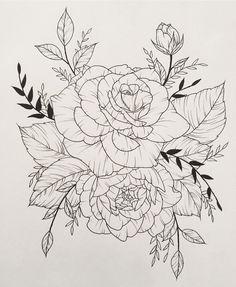#roses #rose #flowers #tattoo #flash #leaves #linedrawing #art #drawing #illustration #design #blossom