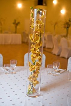 Yellow Floral Vase Wedding Centerpiece