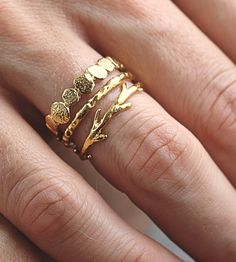 Pebble, Textured & Twig Stacking Ring Set