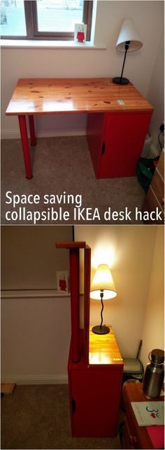 Sam finally made his idea of a space saving collapsible desk come true.