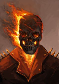 a ghost rider speedpainting, practicing flames and skulls. Hope you like it Hellrider Marvel Comic Universe, Marvel Art, Marvel Heroes, Ghost Rider Johnny Blaze, Ghost Rider Marvel, Touka Wallpaper, Ghost Rider Wallpaper, Spirit Of Vengeance, Nerd