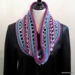 100 Free #Crochet Scarf Patterns - Candy Ribbons Crochet Infinity Scarf by @jessieathome