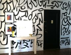 chez bachelor: a keith haring meets kelly wearstler inspired wall painting (nicole cohen). Bedroom Murals, Bedroom Wall, Wall Murals, Bedroom Ideas, Wall Art, Bachelor Room, Kelly Wearstler Wallpaper, Hand Painted Walls, Paint Walls