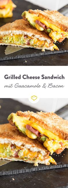 Verpackt in zwei Brotscheiben zerläuft beim Grilled Cheese der cremige Cheddar in der Pfanne. Zum Käse gesellen sich würziger Bacon und buttrige Guacamole.