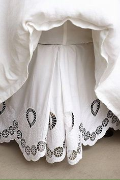 Bedding - White bedskirt with an eyelet embroidered edge. Anthropologie Bedding, Embroidered Bedding, Bohemian Bedding, Dust Ruffle, Shabby Chic Bedrooms, Chair Covers, Dream Bedroom, Linen Bedding, Bed Linens