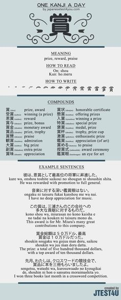 Educational infographic & data visualisation Learn one Kanji a day with infographic: 賞 (shou) Infographic Description Learn one Kanji a day with infographic: 賞 (shou) – Infographic Source –