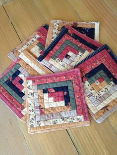 Autumn Log Cabin Quilted Patchwork coasters set of by RoJenDesigns Log Cabin Patchwork, Log Cabin Quilts, Log Cabins, Mug Rug Patterns, Jelly Roll Quilt Patterns, Small Quilts, Mini Quilts, Quilted Coasters, Easy Homemade Gifts