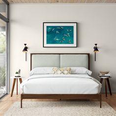 Atticus Daybed & Reviews | AllModern Upholstered Bed Frame, Panel Headboard, Upholstered Platform Bed, Panel Bed, Mid Century Modern Bed, Queen Platform Bed, Platform Beds, Bed Reviews, Wood Beds