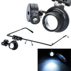 Glasses Design 20X Magnifier with White LED Light - Black