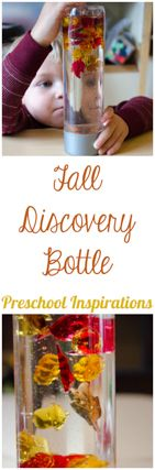 Discovery Bottles are great for expanding attention spans, calming, and even just exploration and play. Here's a fall discovery bottle great for babies and older from Preschool Inspirations.