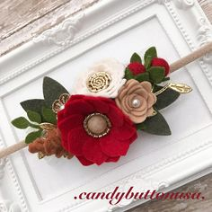 Christmas Headband, Red Gold Headband, Gold Baby Headband, Holiday Baby Headband, Red Gold Hairbows Glitter Bows Christmas Baby Headband Gorgeous holiday headband by .candybuttonusa. ! Adorned with different sizes handmade fabric and felt flowers, lace, also synthetic pearls. This