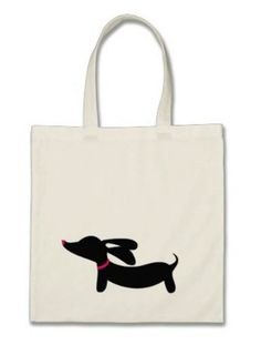 "Small tote bag with optional dachshund colors and styles. Perfect for toting around extra treats! 100% lightweight (thin) cotton economy tote Size: 15.75"" h x 15.25"" w Reinforced stitching"
