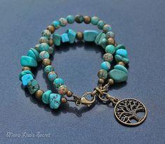Turquoise Tree of Life Bracelet, 2 Strand Boho Style Gemstone Bracelet, Turquoise Magnesite and Imperial Jasper Bracelet, Mother's Day Gift