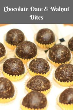 Healthy Chocolate Date & Walnut Bites. These energy balls are easy to make, look great and taste even better - Chocolate Date Walnut Bites Best Dessert Recipes, Candy Recipes, Real Food Recipes, Sweet Recipes, Snack Recipes, Yummy Snacks, Healthy Desserts, Fun Desserts, Delicious Desserts