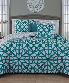 Another great find on #zulily! Teal Villa Five-Piece Comforter Set #zulilyfinds