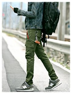 (Green or grey? Cargo Pants Outfit Men, Green Pants Outfit, Skinny Cargo Pants, Green Cargo Pants, Man Fashion, Green Fashion, Fashion Outfits, Mode Man, Casual Outfits