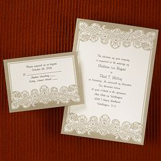 Vintage Mocha from Carlson Craft - This ecru and mocha card includes a vintage design printed at the top and bottom. #CarlsonCraft #wedding