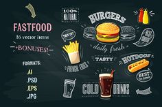 Fastfood vector pack by MythingShop on @creativemarket