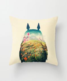 """Totoro """"Play Outside"""" Pillow Cover"""