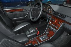 Old school classic early 90's W124 Mercedes Benz 300E sedan interior.