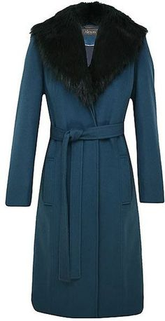 ALEXON Long Green Belted Faux Fur Collared Coat - Lyst
