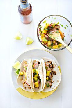 Grilled Turkey Tacos + Mango Radish Salsa  www.SimplyScratch.com #recipe #tacos