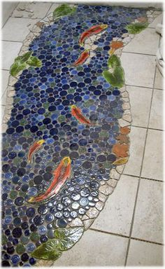 Decorative ceramic tile, hand made pond tiles for custom ceramic tile lily pond floors and pond ceramic floor tiles