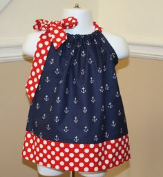 anchors away pillowcase dress, blue, white, red, polka dots, michael miller fabric, 4th of july, handmade outfit, baby girls toddler dresses...