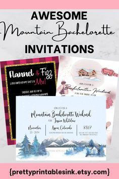 Hens Party Invitations, Printable Invitations, Party Printables, Bachelorette Party Invitations, Bachelorette Weekend, Invite, Ski, Flannel, Woods