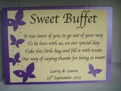 Personalised Sweet Shop Sweetie Candy Bar Buffet Table Sign Poem Free Postage