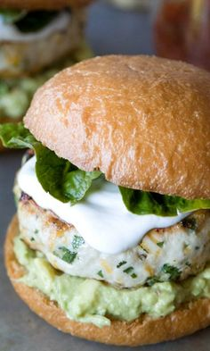 Cheddar Jalapeno Chicken Burgers with Guacamole. (bacon, pinch of cream cheese)