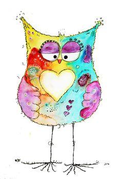 Black and white nursery kids art. Black and white nursery kids art. Art Fantaisiste, Owl Art, Bird Art, Kunstjournal Inspiration, Art Journal Inspiration, Bird Drawings, Cute Drawings, Watercolor Cards, Watercolor Paintings