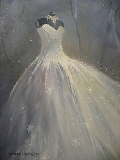SnowQueen Gown painting original ooak Ballet winter by 4WitsEnd