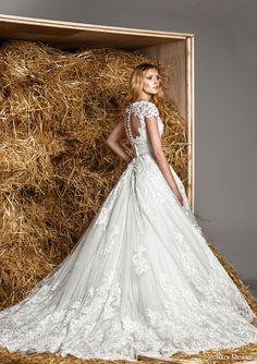 zuhair murad bridal spring 2015 holly strapless sweetheart wedding dress short sleeve lace coat back view train