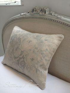 Kate Forman 'Blue Roses' Linen cushion
