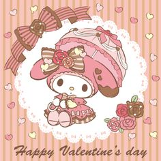 'My Melody' Happy Valentine's Day, as collected via Sanrio My Melody Wallpaper, Sanrio Wallpaper, Hello Kitty Wallpaper, Kawaii Wallpaper, Pretty Wallpapers, Fantastic Wallpapers, Iphone Wallpapers, Sanrio Danshi, Hello Kitty My Melody