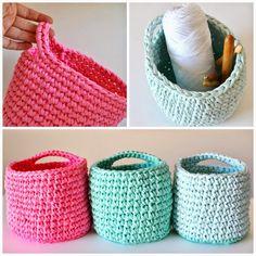 three t-shirt yarn baskets, by myworldofwool.com