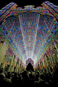 """The spectacular lights of the """"Ghent Light Festival"""" in Belgium."""