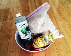 DIY bokashi flakes: EM-1, Molasses, Wheat Bran