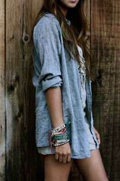 chambray shirt + stacked bracelets