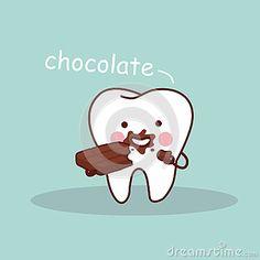 Cartoon tooth with chocolate