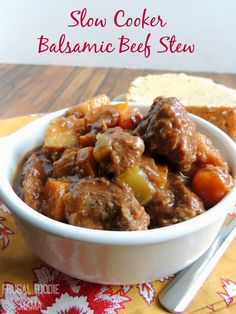 Slow Cooker Balsamic Beef Stew #crockpot