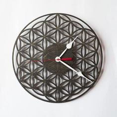 Wall Clock FLOWER OF LIFE, Wooden Clock, Wood clock, Wooden Wall Clock, Modern Clock, Unique clock, Sacred Geometry, Valentines day gift