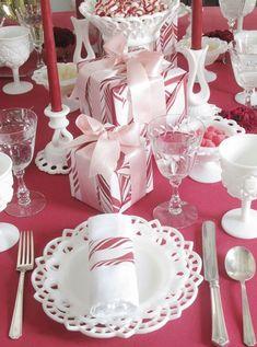 christmas table settings | Christmas Table Setting Ideas : Creative Pink Christmas Table Setting ...