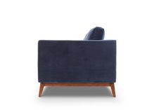 Side View of Chantelle in Cotton Navy.  Style/Type - Mid-century modern velvet sofa / couch / 3 seat sofa