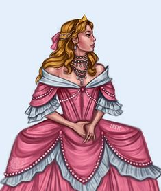 Baroque Disney Princess Aurora in her beautiful victorian pink ballgown dress