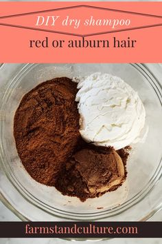 DIY dry shampoo for red hair — farmstand culture - Will tomorrow be second-day hair? Try my DIY dry shampoo recipe for homemade hair care right from your kitchen. Only three simple ingredients blend right into your red or auburn hair! Diy Shampoo, Red Hair Shampoo, Homemade Dry Shampoo, Homemade Hair, Shampoo Bottles, Homemade Beauty, Hair Care Oil, Diy Hair Care, Robert Capa